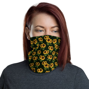 Sunflower Face Mask Neck gaiter, Floral Yellow Flower Print Fabric Shield Mouth Cover Fashion Half Headband Washable Scarf Wristband Bandanna - Starcove Design