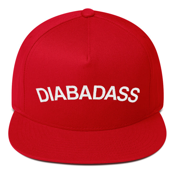 Diabadass Flat Bill Cap, Diabetes Diabetic Type 1 One Awareness, Embroidered Hat, Baseball Trucker Cap Dad Hat, 90s Snapback, 5 five panel - Starcove Design