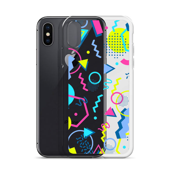 80s Geometric Colorful iPhone 11 Pro Max Clear Case, Pop Print Cute Gift, Aesthetic iphone XS Max, XR, X, 7 Plus, 8 8F,  6s 6 Plus, 5 5s 5e - Starcove Design