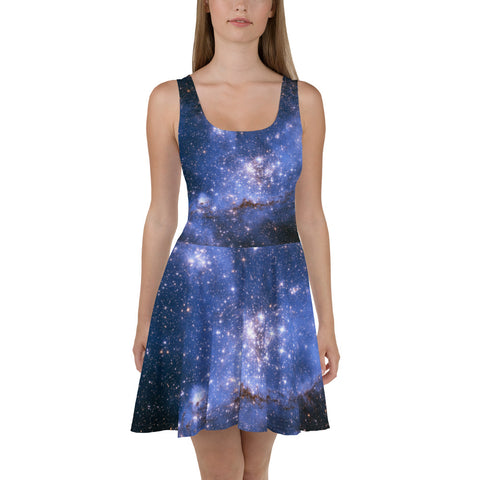 Blue Galaxy Skater dress, Print Outer Space Night Sky Stars Constellation, Bodycon Celestial dress, Fantasy Party Skater Dress - Starcove Fashion