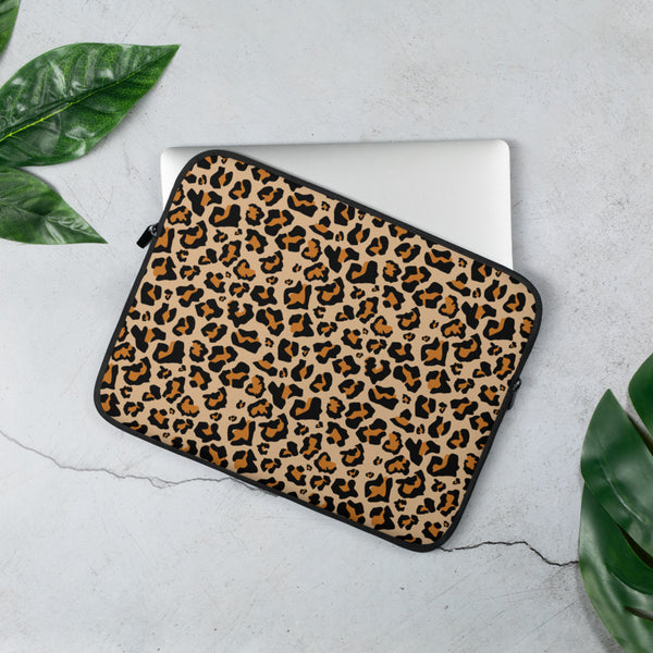 Leopard Print Laptop Sleeve Case, Animal Print Cheetah Surface Cover Macbook Air 13 15 Inch Protective Zipper Bag - Starcove Design