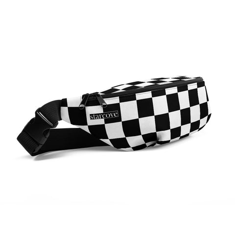 Fanny Pack, Black and White Checkered, Check Festival Hip Waist Bag, Canvas Vacation Belt, Gingham Checkerboard Pattern, Vegan Bag - Starcove Design