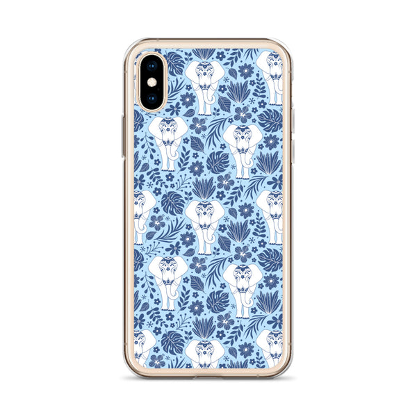 Elephant iPhone 11 Pro Max Case, Blue Flowers Tropical Print Cute Gift Aesthetic iphone XS Max XR X 7 Plus 8 8F 6s 6 Plus 5 5s 5e Cell Phone - Starcove Design