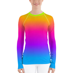 Women's Rash Guard, Pop Rainbow Colors, Neon Tie Dye Surf wear, Printed Top, Blue Purple Orange Swimwear, Colorful Rash Guard - Starcove Design