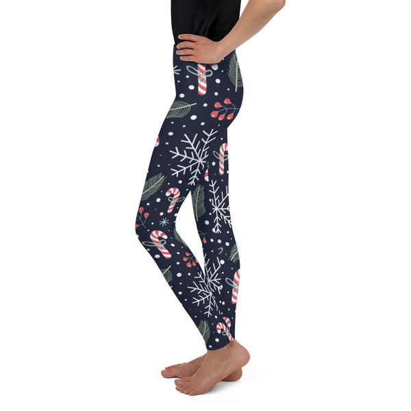 Christmas Leggings Girls, Snow Sugar Cane Snowflakes Winter Workout Yoga Pants Mommy and Me Leggings Matching (8-20) - Starcove Design