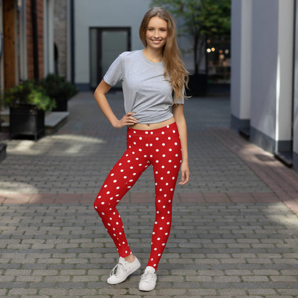 Red White Polka Dot Leggings, Christmas Leggings for Women Yoga Pants Printed Print Cute Graphic Workout Running Gym Fun Designer - Starcove Design