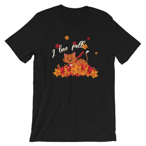 Kitty Cat Playing with Fall Leaves Shirt, I Love Fall Season Leaf Autumn Happy Graphic Fun Cute Kitten Lover Tee Gift - Starcove Design