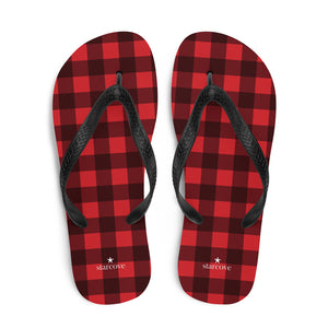 Red Buffalo Plaid Flip-Flops, Checkered Check Square Pattern Thong Sandals Women Men Beach Shoes - Starcove Design