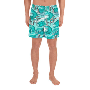Sea Wave Men Shorts, Men's Athletic Long Swim Shorts, Seagull Surf Illustration, Matching Family Swimwear - Starcove Design