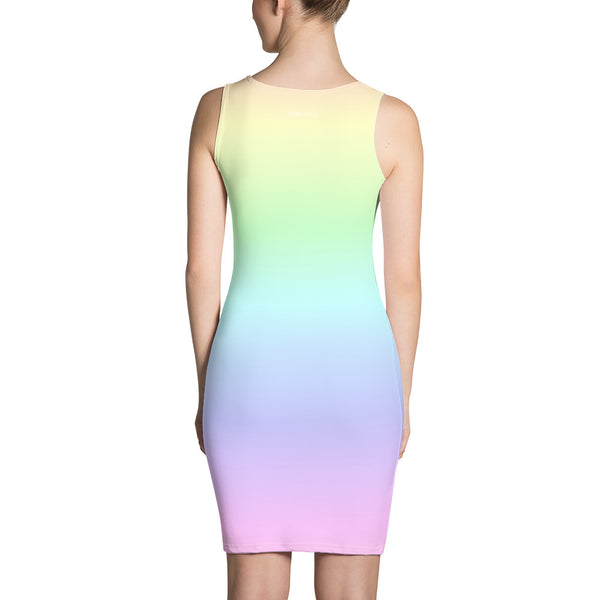 Pastel Rainbow Dress, Bodycon Pencil Dress with Ombre Gradient Tie Dye Colorful Design, Party Women's Dress - Starcove Design