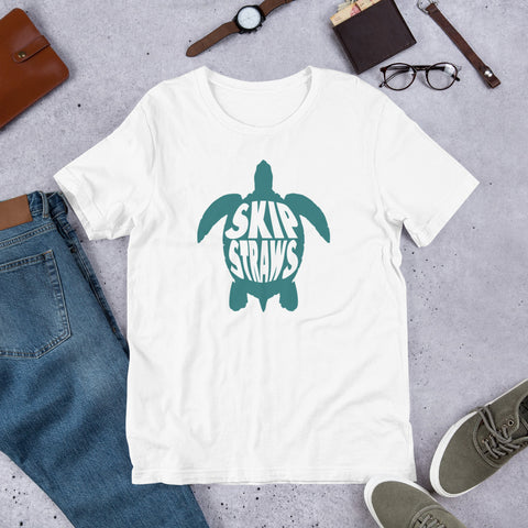 Skip A Straws Shirt, Sea Turtle TShirt, No More Straws, Save a Turtle, Inspirational Ocean Beach Graphic Gift - Starcove Design