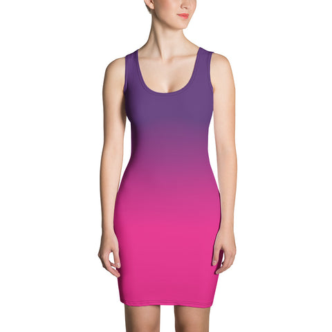 Ombre Pink and Purple Dress, Summer Bodycon Beach dress, Dip Dye Gradient, Evening Music Festival Pencil Dress - Starcove Fashion