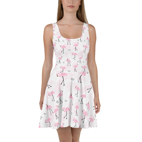 Flamingo Tropical Dress, Cute Pink Miami Beach Leaves Flowers, Summer Feather Party Dress, Circle Skater Dress - Starcove Design