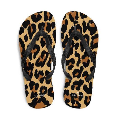 Leopard Flip Flops, Cheetah Animal Print Comfortable Beach Flip Flops with Fun Cute Designer Animal Print Design Men Women Sandals - Starcove Design