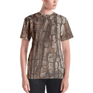Tree Trunk Bark Print Women Shirt, Nature Hunting Wood Camo Camouflage, Forest Costumes Cosplay Women's T-shirt