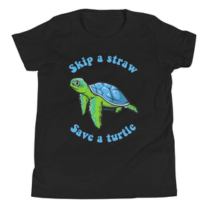Skip A Straw Save A Turtle Shirt, Teen Tween Girl, Sea Turtle Beach Ocean Lover Gift Youth Kids Aesthetic Short Sleeve T-Shirt