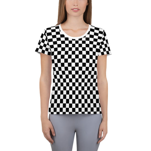 Checker Black and White, Gingham Checkered, Checker Board, Vintage Retro Racing Women's Sports Athletic T-Shirt - Starcove Design