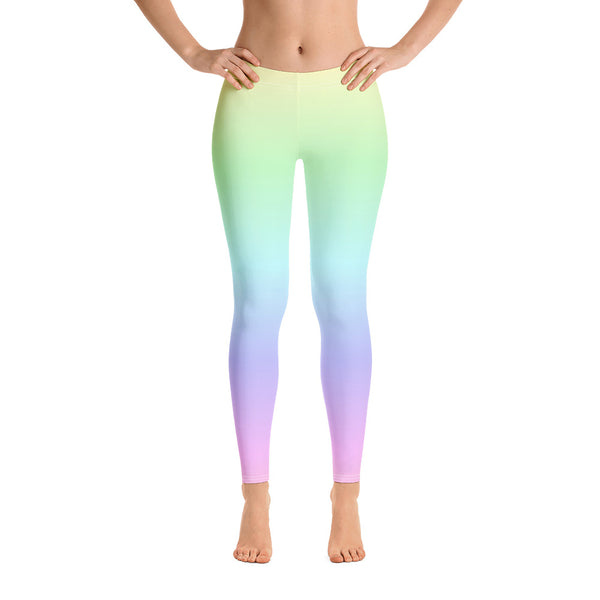 Pastel Rainbow Leggings, Tie Dye Leggings, Pastel Yoga Pants, Kawaii Goth Pink Purple, Printed Ombre Colorful Workout Leggings for Women - Starcove Design
