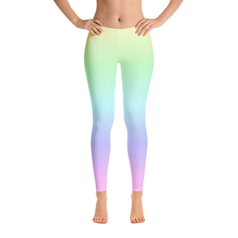 Pastel Rainbow Leggings, Tie Dye Leggings, Pastel Yoga Pants, Kawaii Goth Pink Purple, Printed Ombre Colorful Workout Leggings for Women - Starcove Fashion