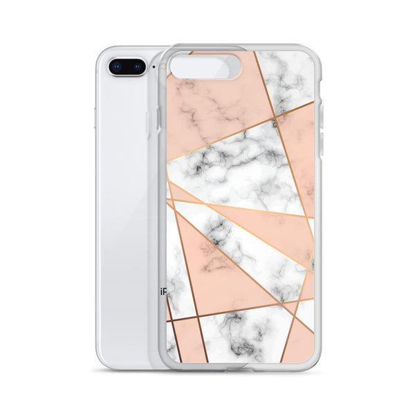 Rose Gold Marble Phone Case,  White Marble iPhone Case, Rose Pink Geometric, Cute Case Gift, iphone XS Max, XR, X, 7 Plus, 8 8F, 6s 6 Plus - Starcove Design