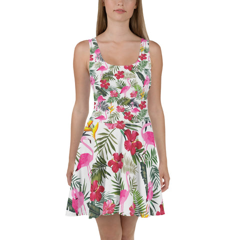 Flamingo Tropical Dress, Pink Rose Flowers, Summer Flamingo Party Dress, Green Palm Leaf Plant Circle Skater Dress