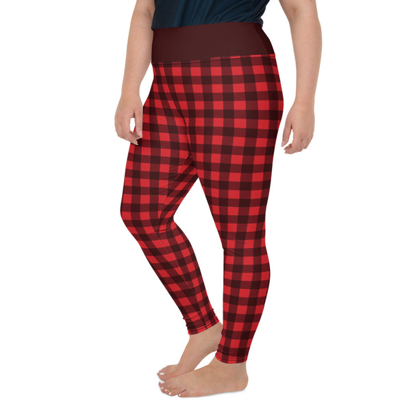 Red Plaid Plus Size leggings, Buffalo Plaid Check Checkered Pattern Printed Graphic Workout Yoga Pants Trendy Women Fashion Clothes - Starcove Design