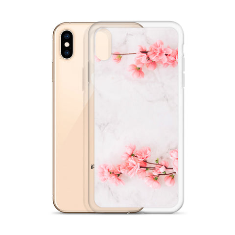 White Marble Phone Case Pink Cherry Blossom, Flower iPhone Case, Rose Pink, Cute Case Gift, iphone XS Max, XR, X, 7 Plus, 8 8F,  6s 6 Plus - Starcove Design