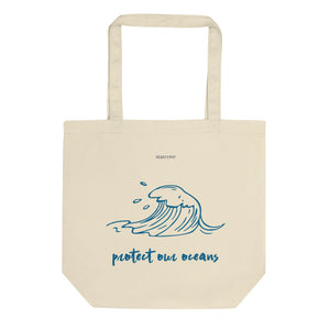 Protect Our Oceans Tote Bag, Ocean Print Sea Wave Tattoo Art Design, Cute Reusable Grocery Bag, Eco Friendly Vegan Organic Cotton Tote Bag