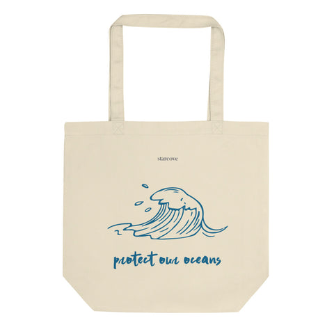 Protect Our Oceans Tote Bag, Ocean Print Sea Wave Tattoo Art Design, Cute Reusable Grocery Bag, Eco Friendly Vegan Organic Cotton Tote Bag - Starcove Design