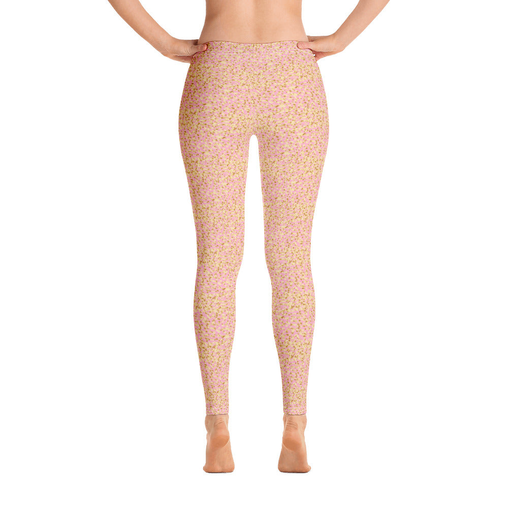 Rose Gold Glitter Leggings, Gold Confetti Party Pastel Kawaii Yoga Pants, Blush Print, Dance Mermaid Celebration Birthday Parties - Starcove Design