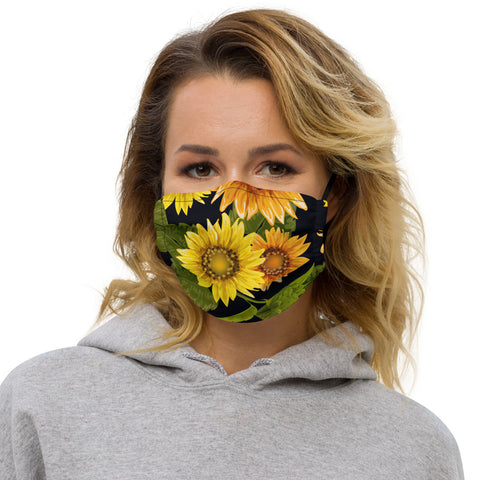 Sunflower Face Mask w Nose Wire and Filter Pocket, Floral Flowers Adult Men Women Fashion Reuseable Washable Fabric Cloth Covering Breathable Made USA
