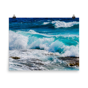 Ocean Waves Print Wall Art Matte Poster - Sea Photography