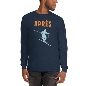 Apres ski Shirt, Winter Mountain Men Long Sleeve T-Shirt, Skiing Party Winter Sports Skier Tee Top Clothes - Starcove Fashion