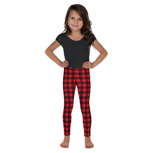 Red Buffalo Plaid Kids Leggings (2T-7) for Girls, Cute Printed Holiday Christmas Checkered Check Workout Lumberjack Yoga Pants - Starcove Design