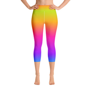 Rainbow Leggings, Tie Dye Yellow Purple Ombre, Yoga Pants, Printed Colorful Pop Art, workout Women leggings, High Waist Capri with Pocket - Starcove Design