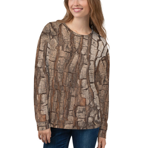 Tree Bark Print Sweatshirt, Nature Hunting Wood Camo Camouflage, Forest Costumes Cosplay Sweater - Starcove Design