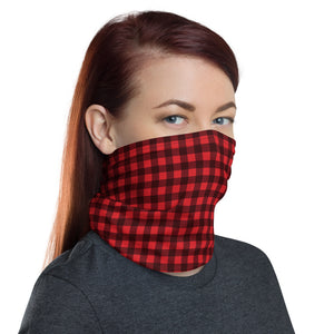 Red Buffalo Plaid Face Mask Neck Gaiter, Fabric Cloth Mouth Shield Cover Fashion Half Washable Scarf Protection Headband Bandanna - Starcove Design
