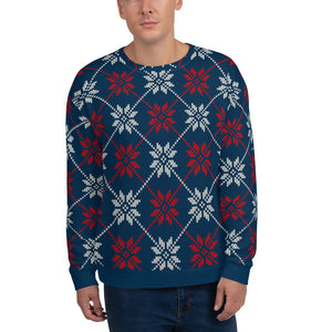 Winter Holiday Sweatshirt, Vintage Blue Red White Snowflakes Printed Fair Isle Christmas Sweater Unisex Ugly Xmas Women Men Party Gift