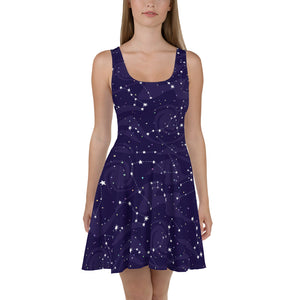 Starry Night Skater Dress, Blue Navy Galaxy Constellation Space Stars Cute Festival Party Tank Dresses Summer Alternative Clothing Celestial - Starcove Design