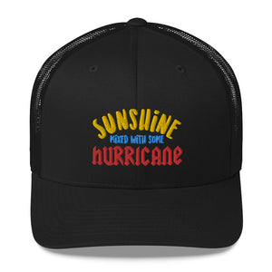Sunshine Mixed with some Hurricane Hat, Trucker Cap Baseball Dad Mom Trucker Men Women Embroidery Embroidered Hat - Starcove Design