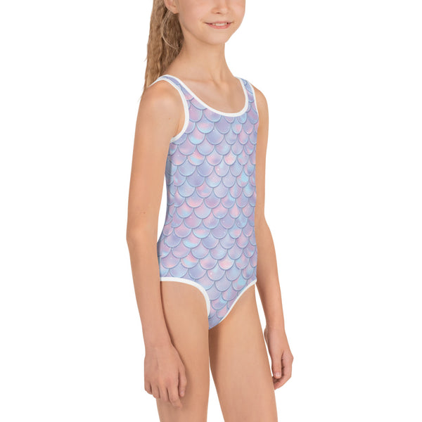 Girl Swimsuit Mermaid (2T-7), Pastel Scales Tail One Piece Bathing suit Toddler Swim Party Costume Swimwear - Starcove Design