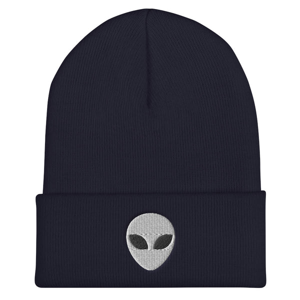 Alien Head Embroidered Cuffed Beanie, Embroidery Party Winter Hat Gift - Starcove Design