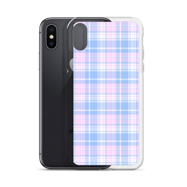 Pastel Plaid iPhone 11 Pro Max Case, Pink Blue Tartan Print Cute Gift Aesthetic iphone XS Max XR X 7 Plus 8 8F 6s 6 Plus 5 5s 5e Cell Phone - Starcove Design