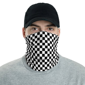 Black White Check Face Mask Neck Gaiter, Checkered Gingham Racing Fabric Cloth Mouth Shield Cover Fashion Half Washable Protection Scarf bandanna - Starcove Design