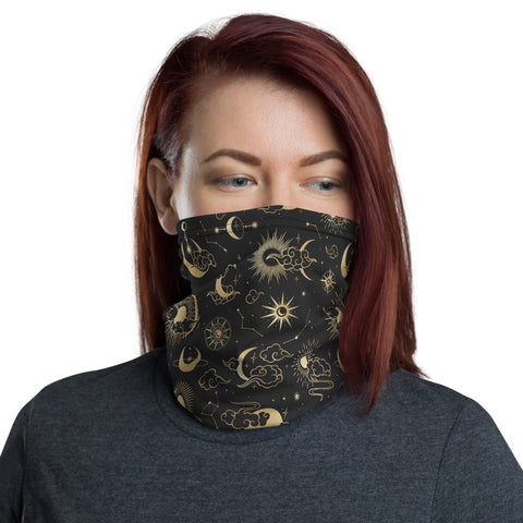 Sun Moon Face Mask Neck gaiter, Stars Constellation Print Fabric Shield Mouth Cover Fashion Half Headband Washable Scarf Bandanna - Starcove Design