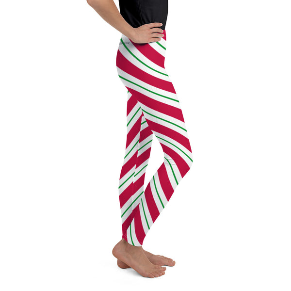 Candy Cane Girls Leggings (8-20), Red Green Christmas Graphic Printed Striped Winter Yoga Wear Clothing Youth Activewear Holiday Xmas Gift - Starcove Design