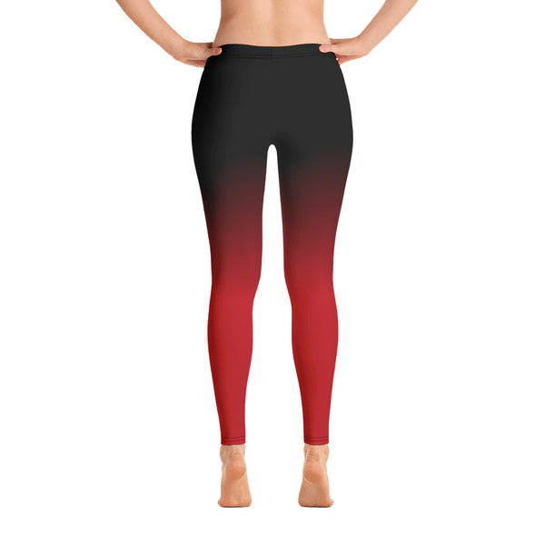 Black and Red Ombre Yoga Leggings, Gradient Womens Workout tie dye Workout Pants, Printed Red Black sexy leggings - Starcove Fashion