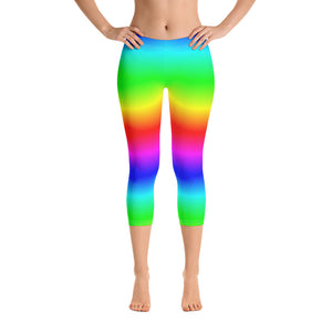 Neon Rainbow Capri Leggings, Tie Dye Kawaii Cropped Yoga Pants Printed Pride, Colorful Women Ombre Workout, Festival EDM - Starcove Design