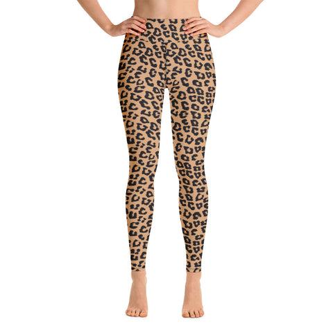 Leopard Yoga High Waist Leggings for Women, Animal Print Cheetah Printed Pants Cute Graphic Workout Running Gym Fun Designer Gift Her Activewear