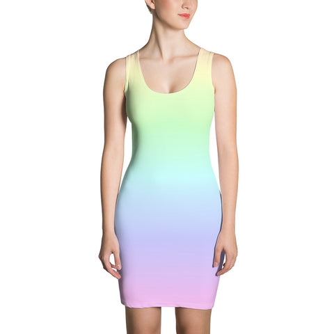 Pastel Rainbow Dress, Bodycon Pencil Dress with Ombre Gradient Tie Dye Colorful Design, Party Women's Dress